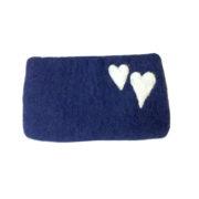 Pung filt stor blå med hjerter