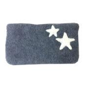 Pung filt stor grå med stjerner