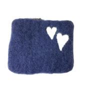 Pung filt liten blå med hjerter