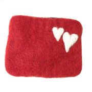 Pung filt liten rød med hjerter