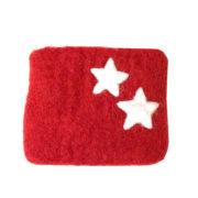 Pung filt liten rød med stjerner