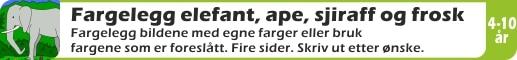 FARGELEGG-ELEF-APE-SJIR-FROSK