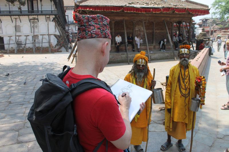 14 - Øistein tegner munker i Katmandu 1000