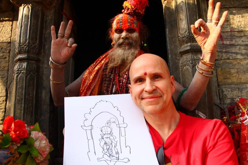 15 - Øistein møter og tegner en av tempelmunkene 1000